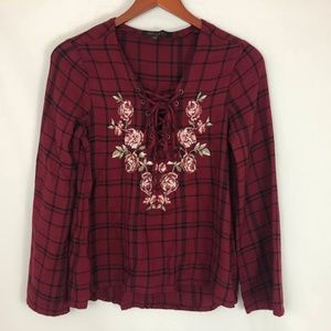 Shyanne Lace Up Plaid Long Sleeve Top Embroidery